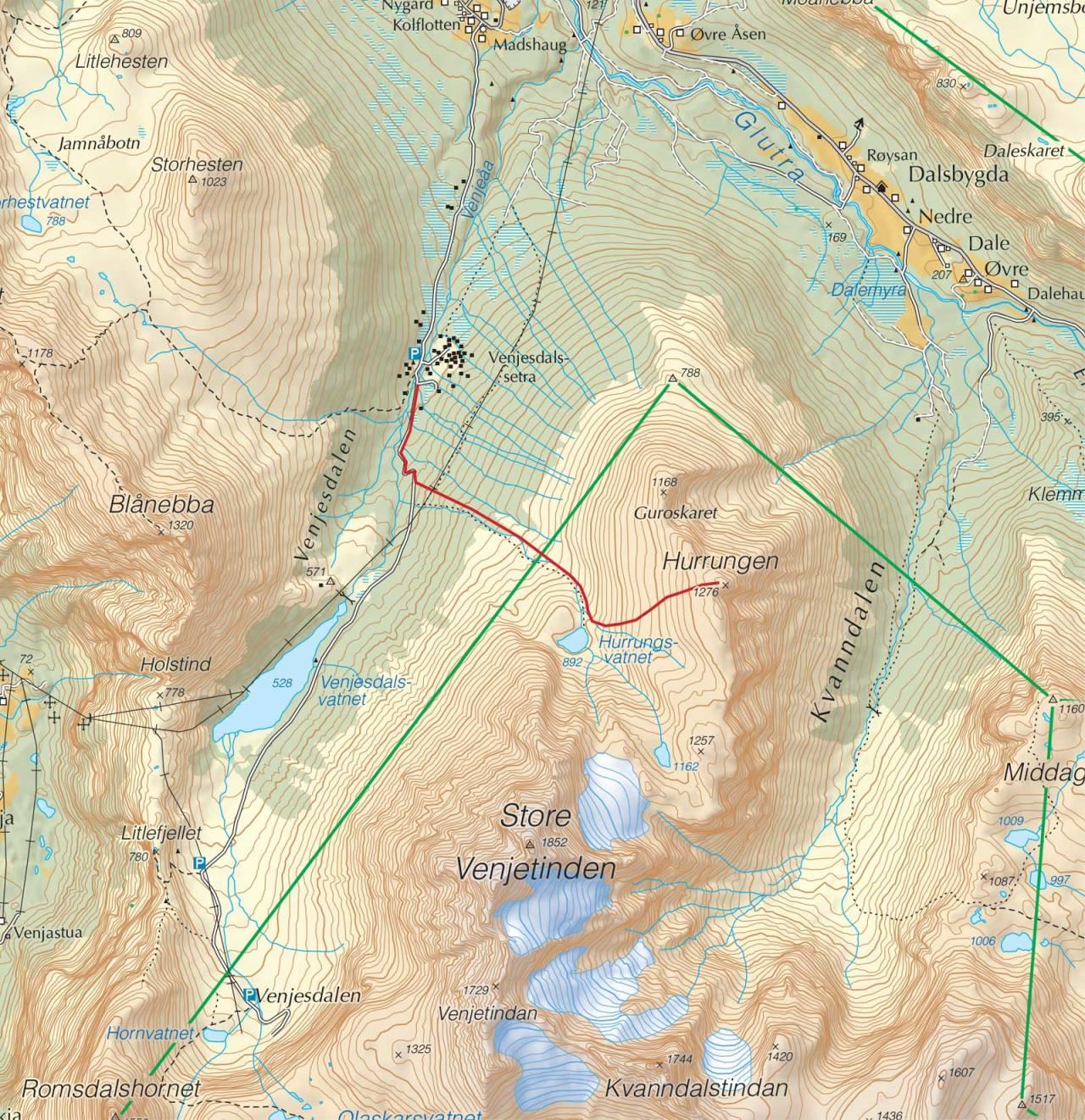 Kart over Hurrungen med inntegnet rute. Fra Trygge toppturer.