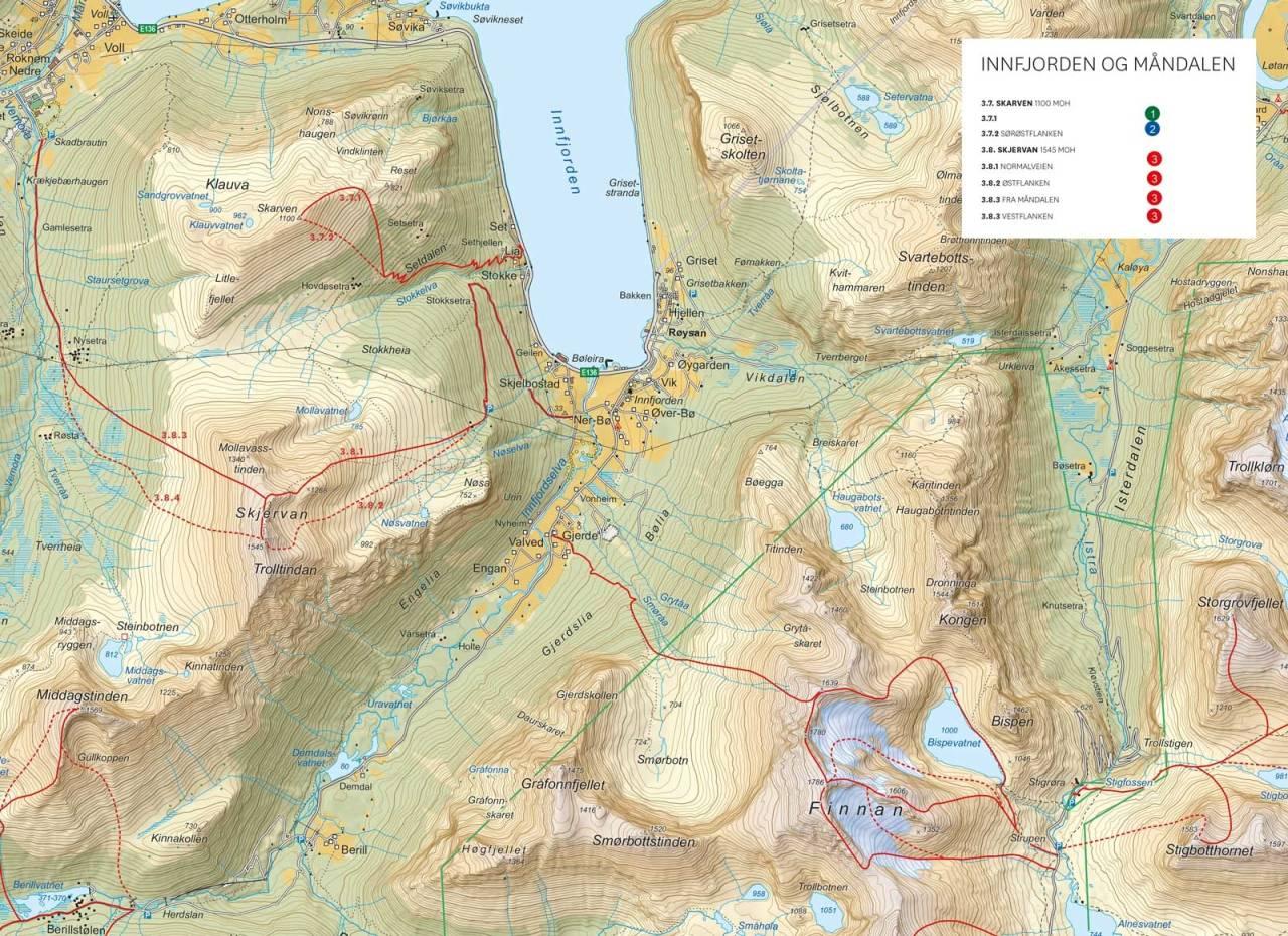 Oversiktakart med inntegnet rute. Fra Toppturer i Romsdalen