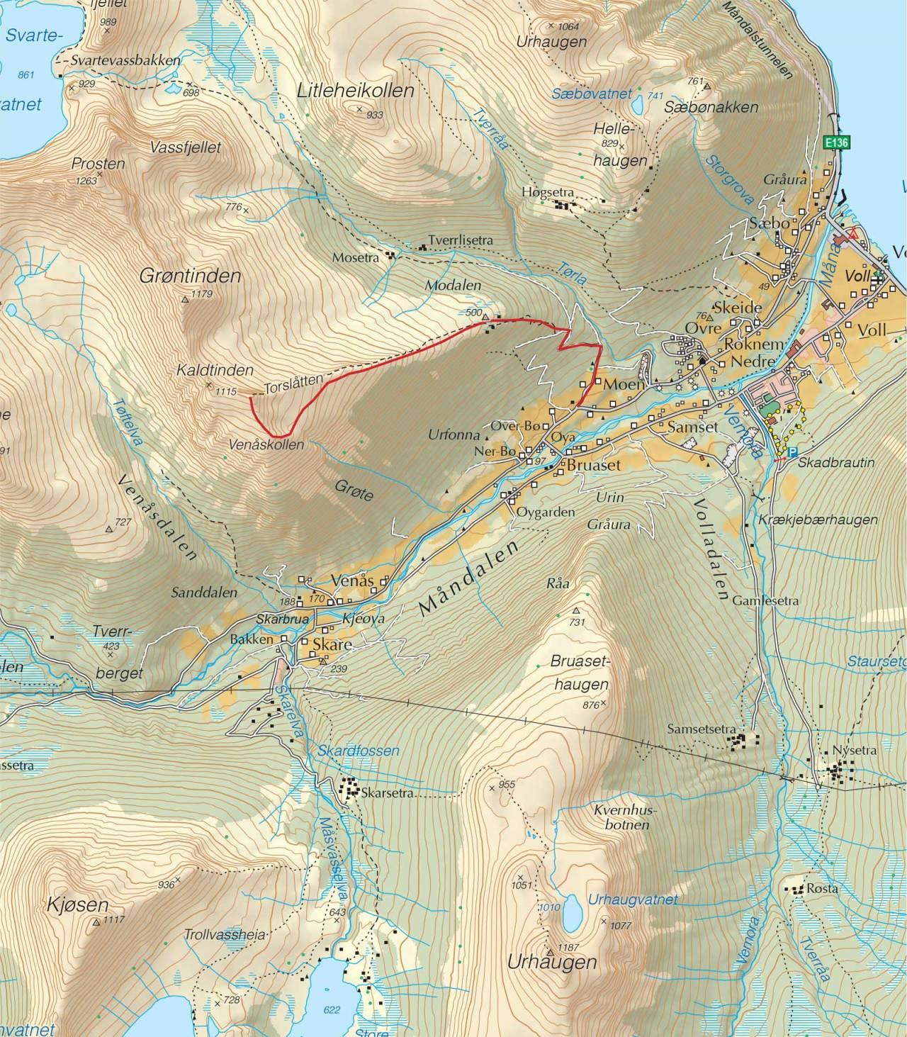Kart over Kaldtinden med inntegnet rute. Fra Trygge toppturer.