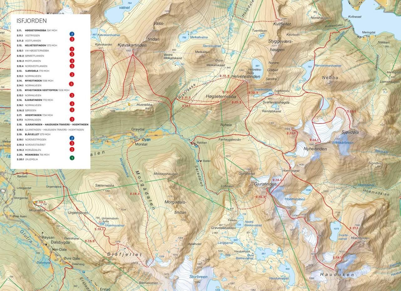 Oversiktskart med inntegnet rutre. Fra Toppturer i Romsdalen