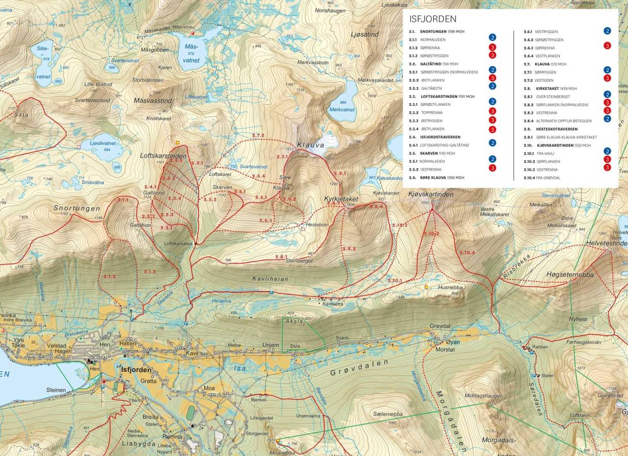Oversiktkart med inntegnet rute. Fra Toppturer i Romsdalen
