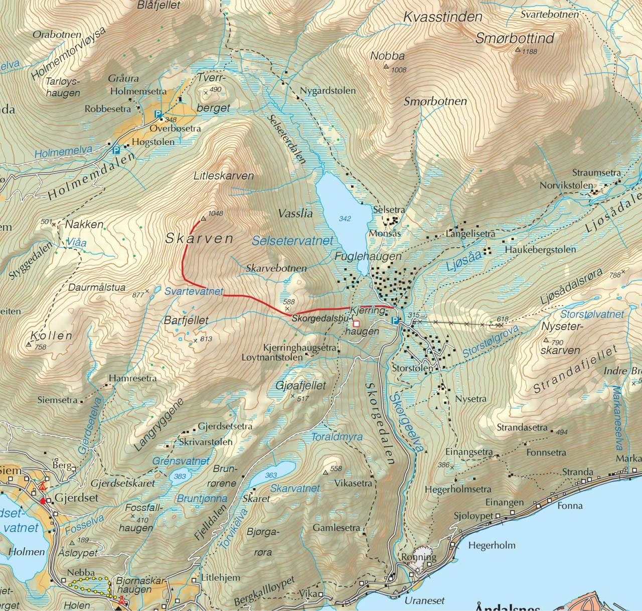 Kart over Skarven, Skorgedalen med inntegnet rute. Fra Trygge toppturer.