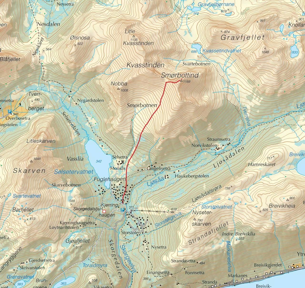 Kart over Smørbottfjellet med inntegnet rute. Fra Trygge toppturer.