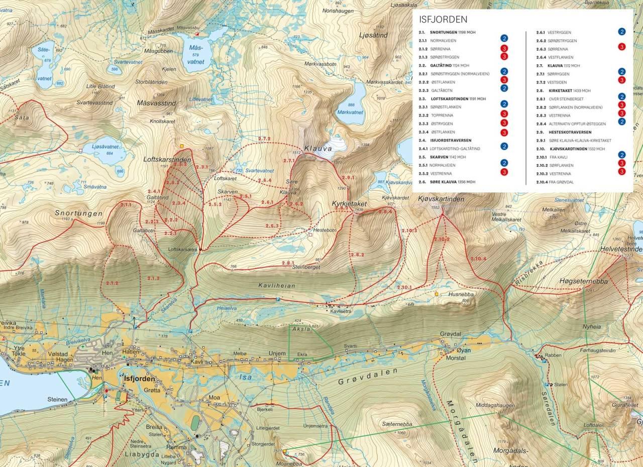 Oversiktskart med inntegnet rute. Fra Toppturer i Romsdalen.