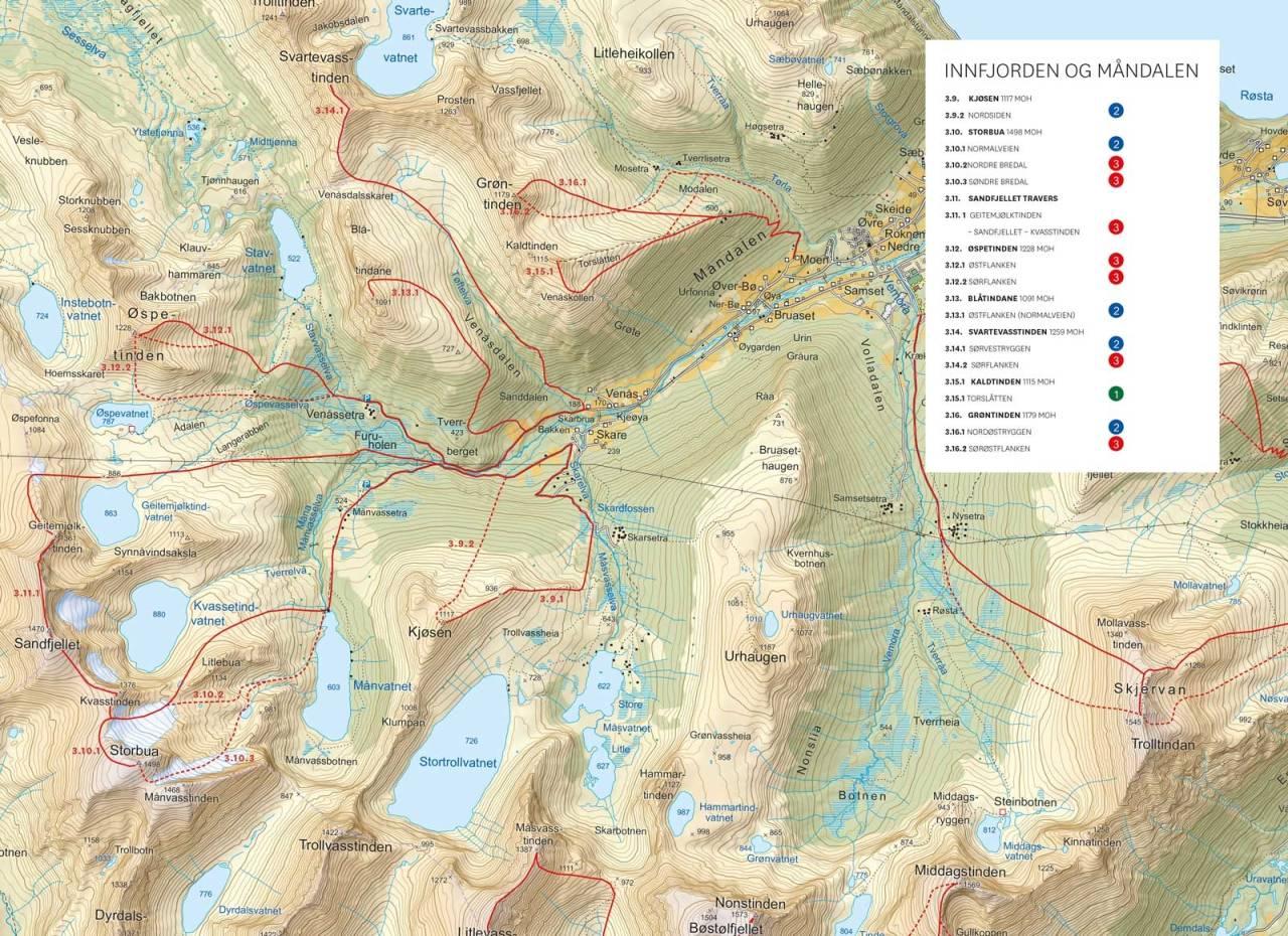 Oversiktskart med inntegnet rute. Fra Toppturer i Romsdalen