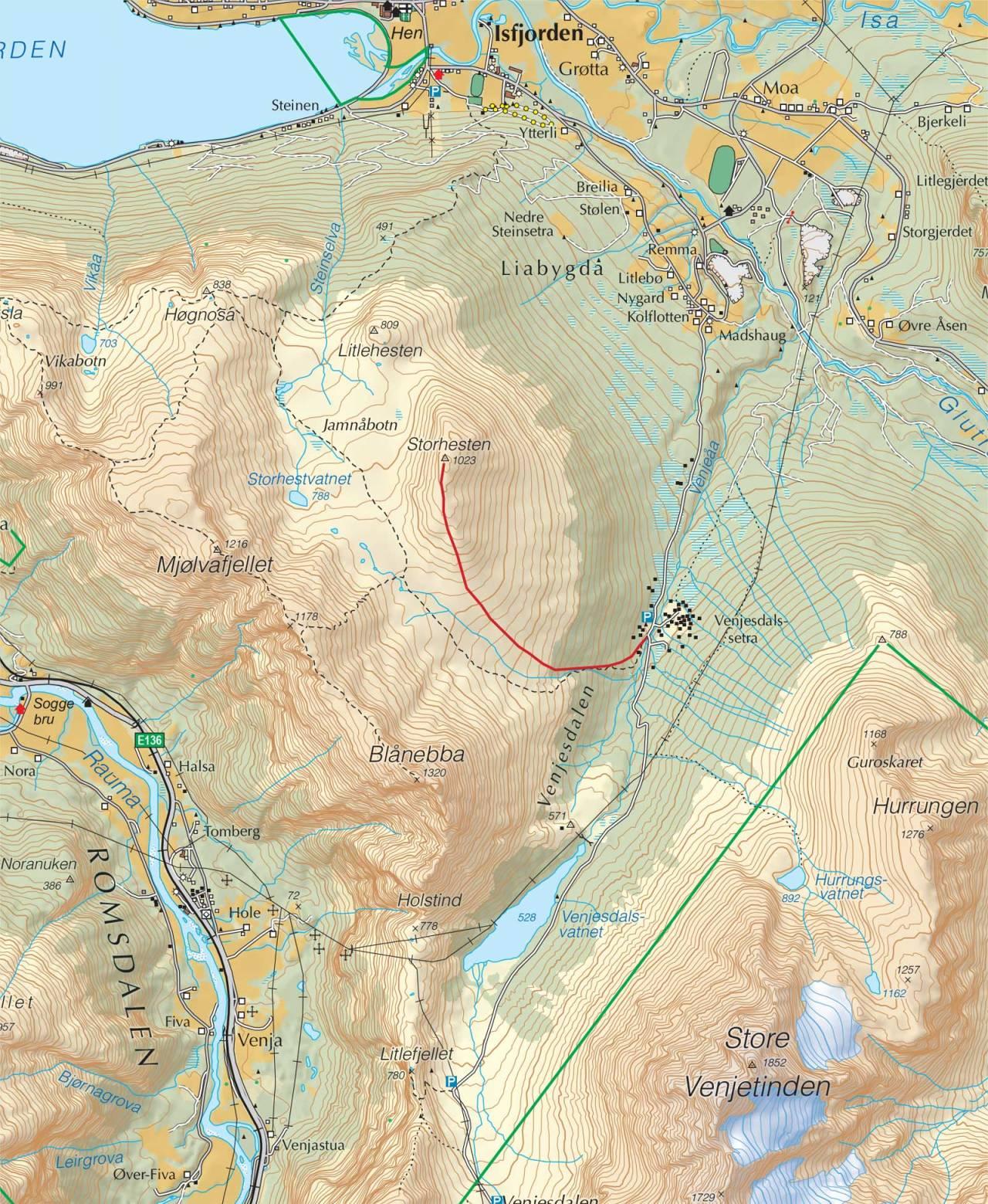 Kart over Storhesten med inntegnet rute. Fra Trygge toppturer.