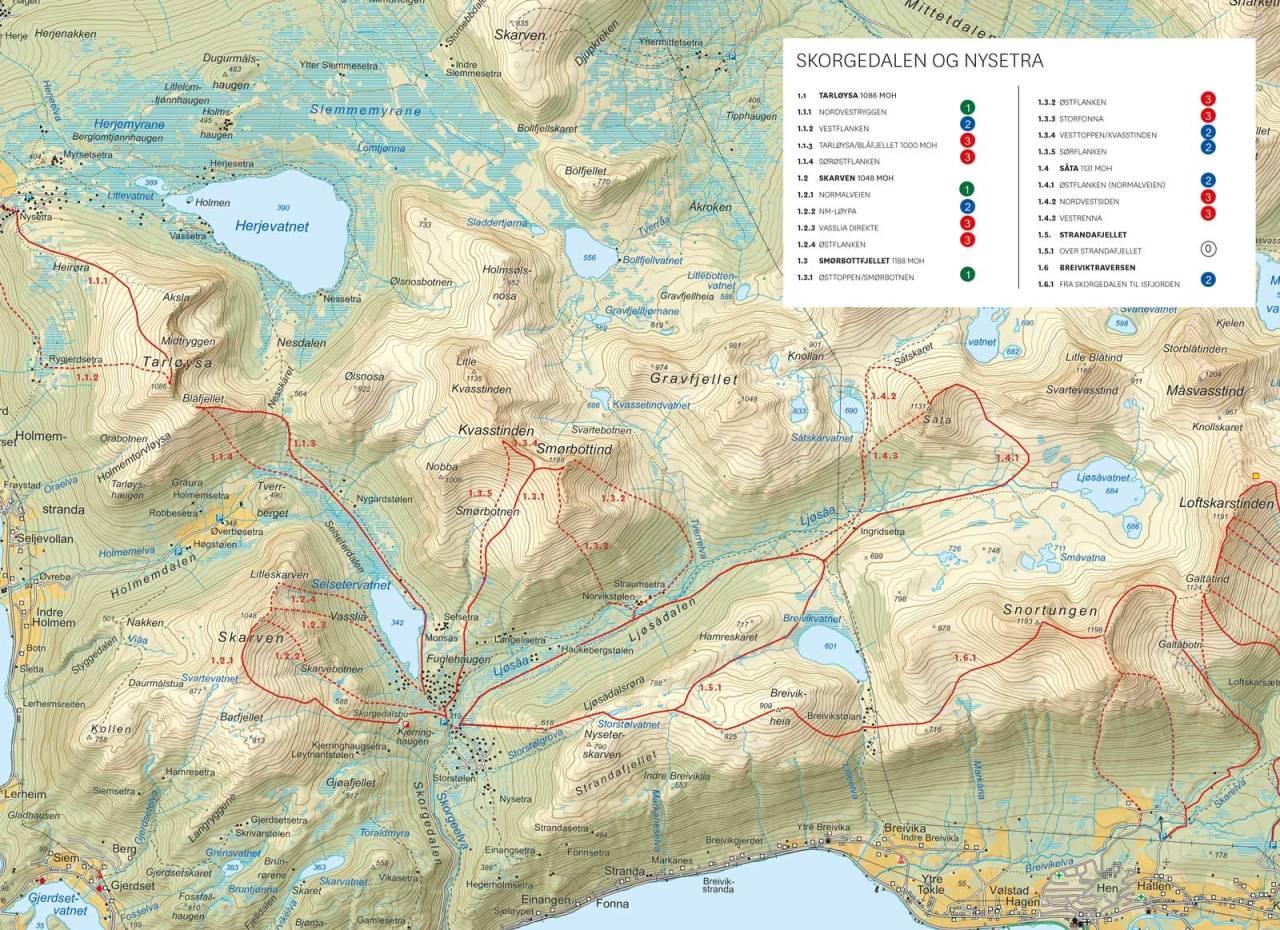 Oversiktskart fra Toppturer i Romsdalen