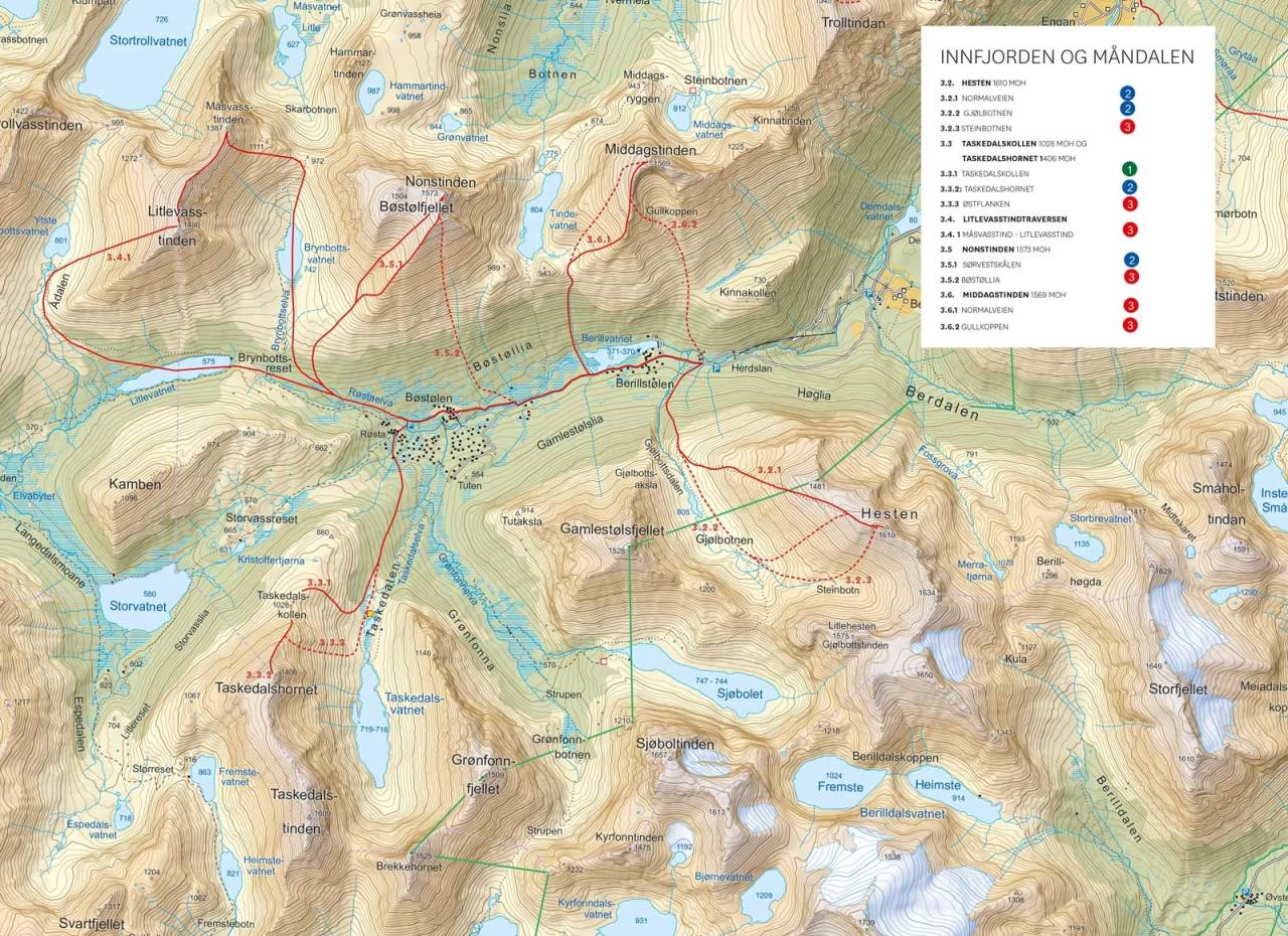 Oversiktakart med inntegnet rute. Fra Toppturer i Romsdalen.