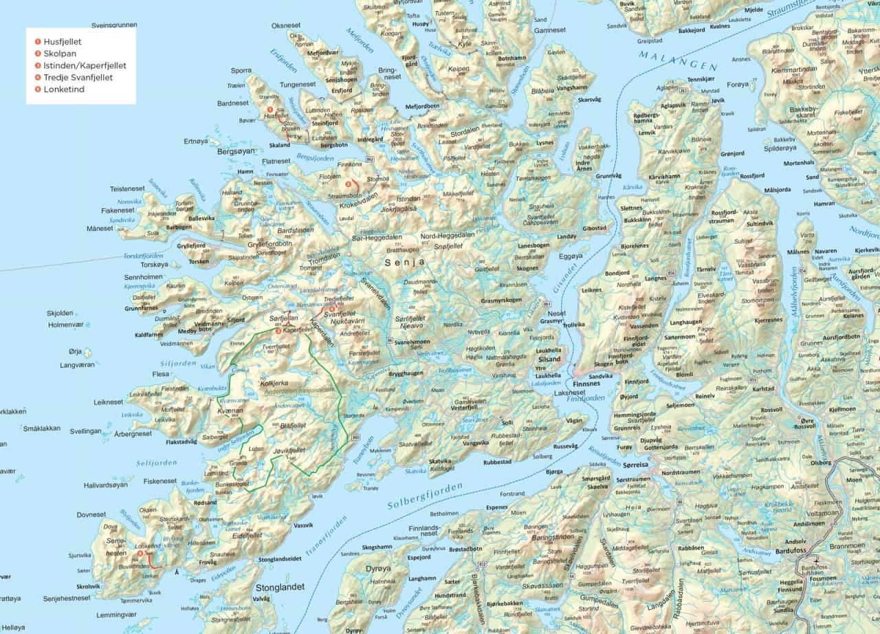 Oversiktskart over Senja. Fra Trygge toppturer.