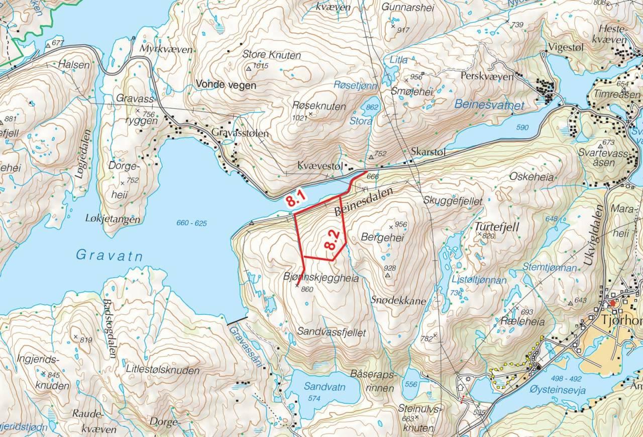 Kart over Bjønnskjeggheia og Bergehei med inntegnet rute. Fra Toppturer i Sørvest.