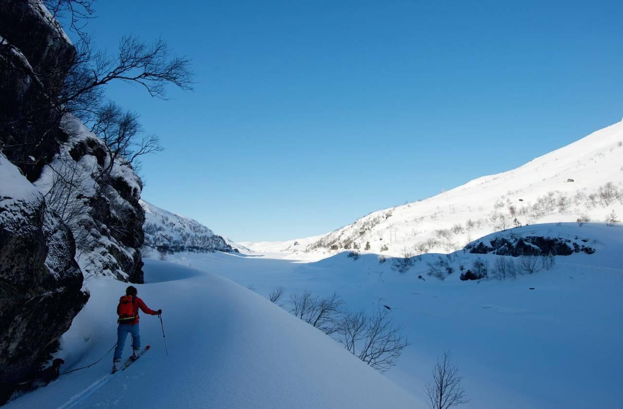 Til Bjønnskjeggheia er det et lite stykke anmarsj før oppstigningen kan begynne. Foto: Øyvind Salvesen. / Toppturer i Sørvest.
