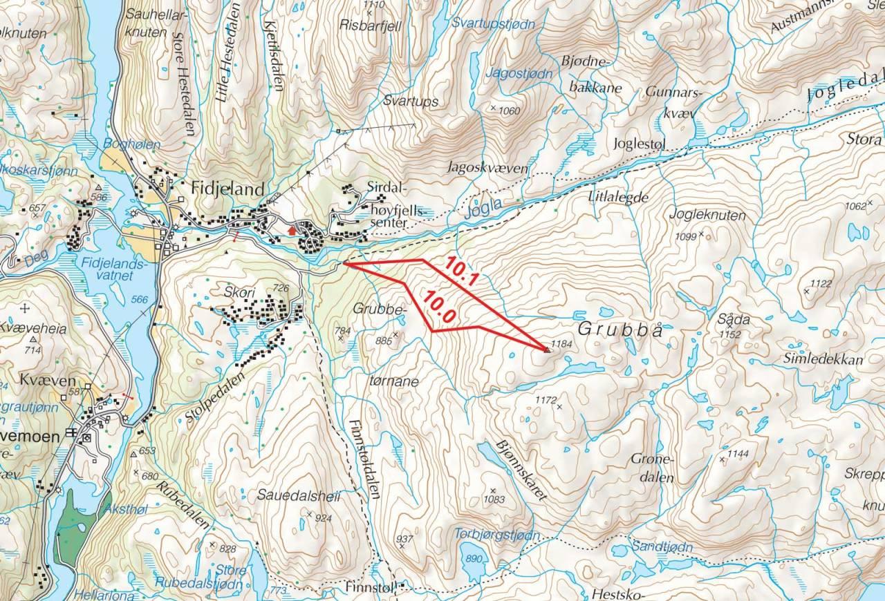 Kart over Grubbå med inntegnet rute. Fra Toppturer i Sørvest.
