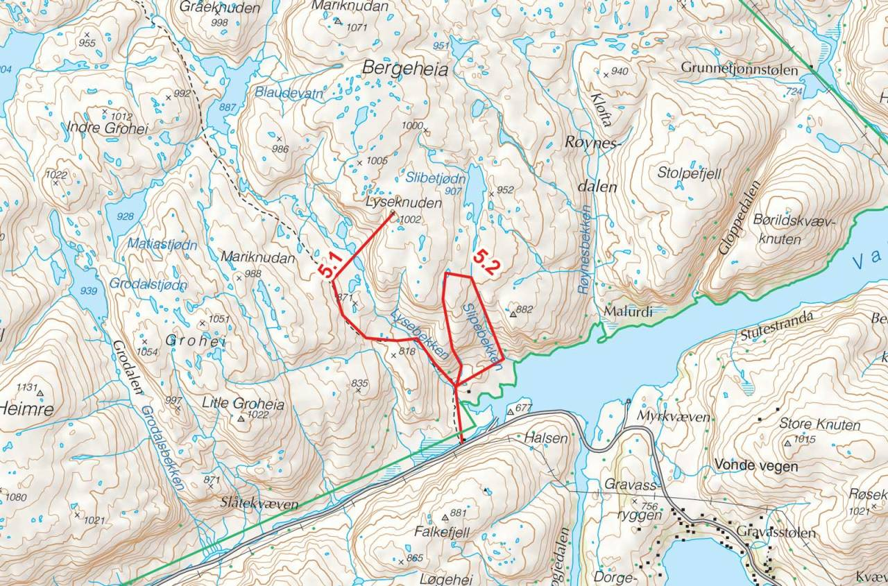 Kart over Lyseknuden med inntegnet rute. Fra Toppturer i Sørvest.