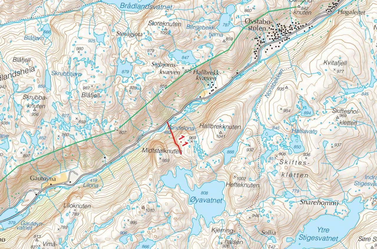 Kart over Midstølknuten med inntegnet rute. Fra Toppturer i Sørvest.