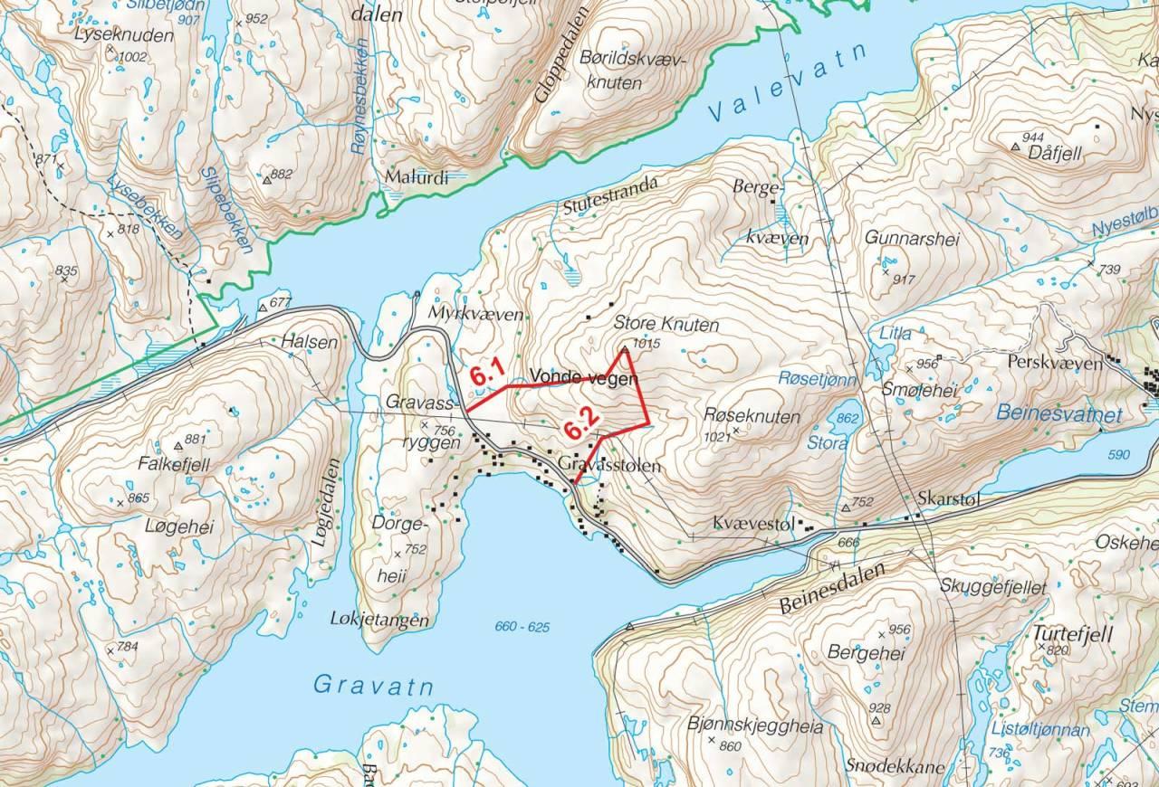 Kart over Store Knuten med inntegnet rute. Fra Toppturer i Sørvest.