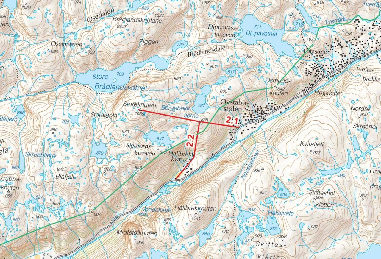 Kart over Storeknuten med inntegnet rute. Fra Toppturer i Sørvest.