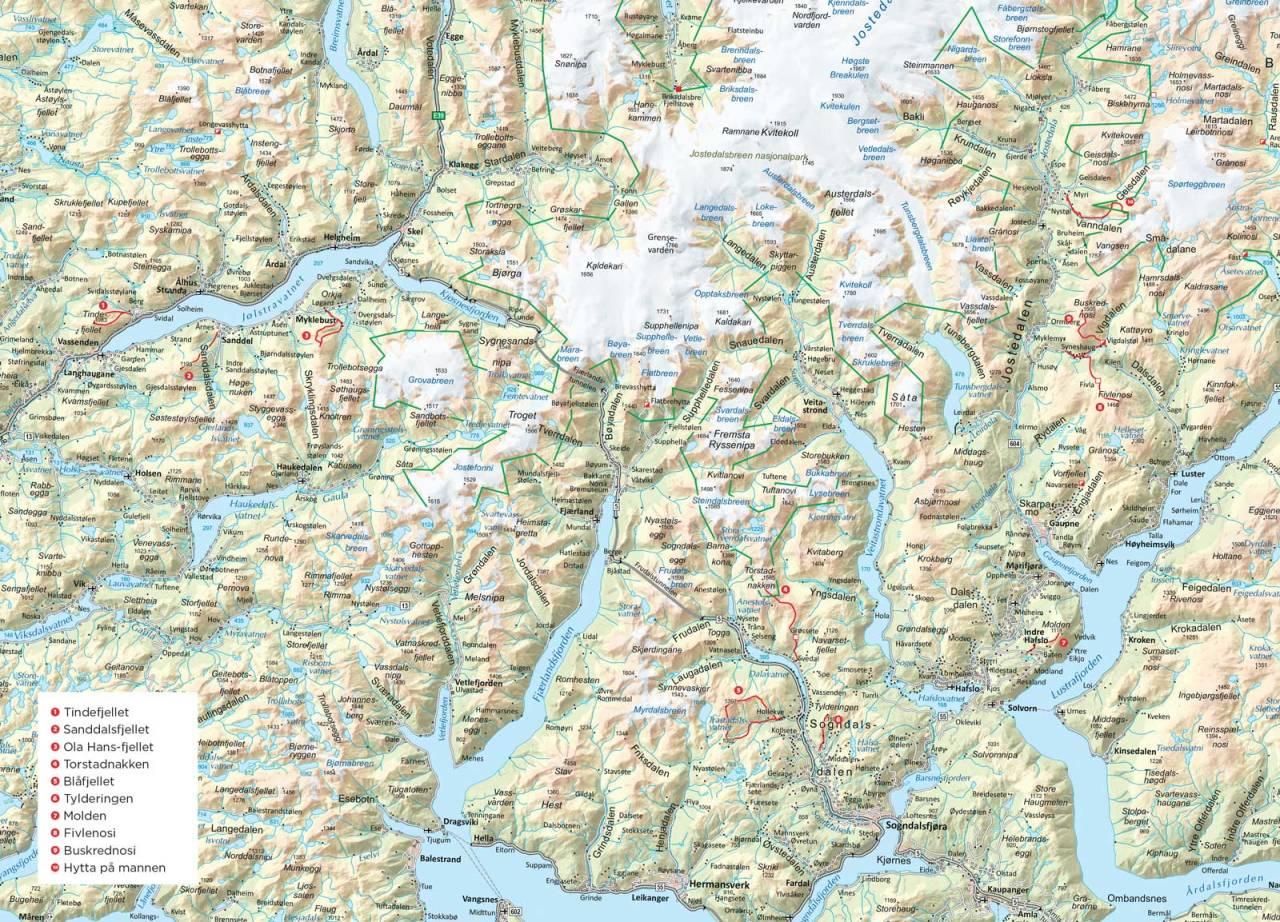 Oversiktskart over Sogn og Jølster. Fra Trygge toppturer