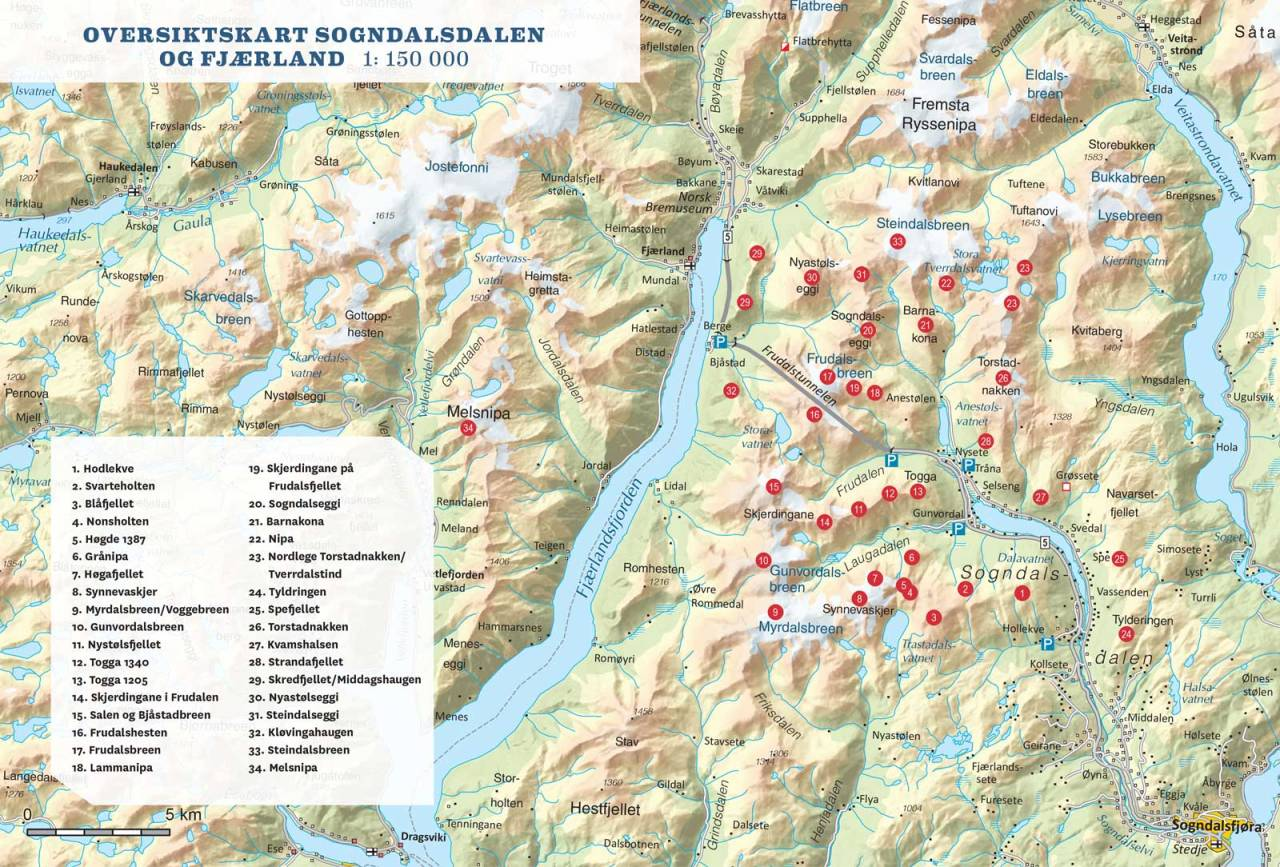 Oversiktskart i Sogndalsdalen og Fjærland. Frå Toppturar i Sogn.