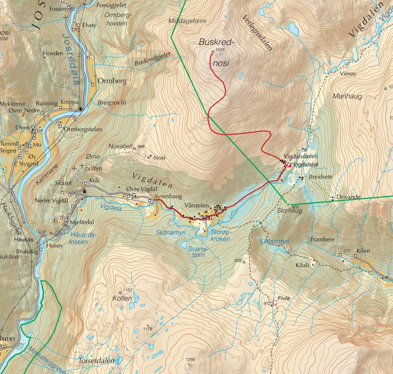 Kart over Buskrednosi med inntegnet rute. Fra Trygge toppturer.