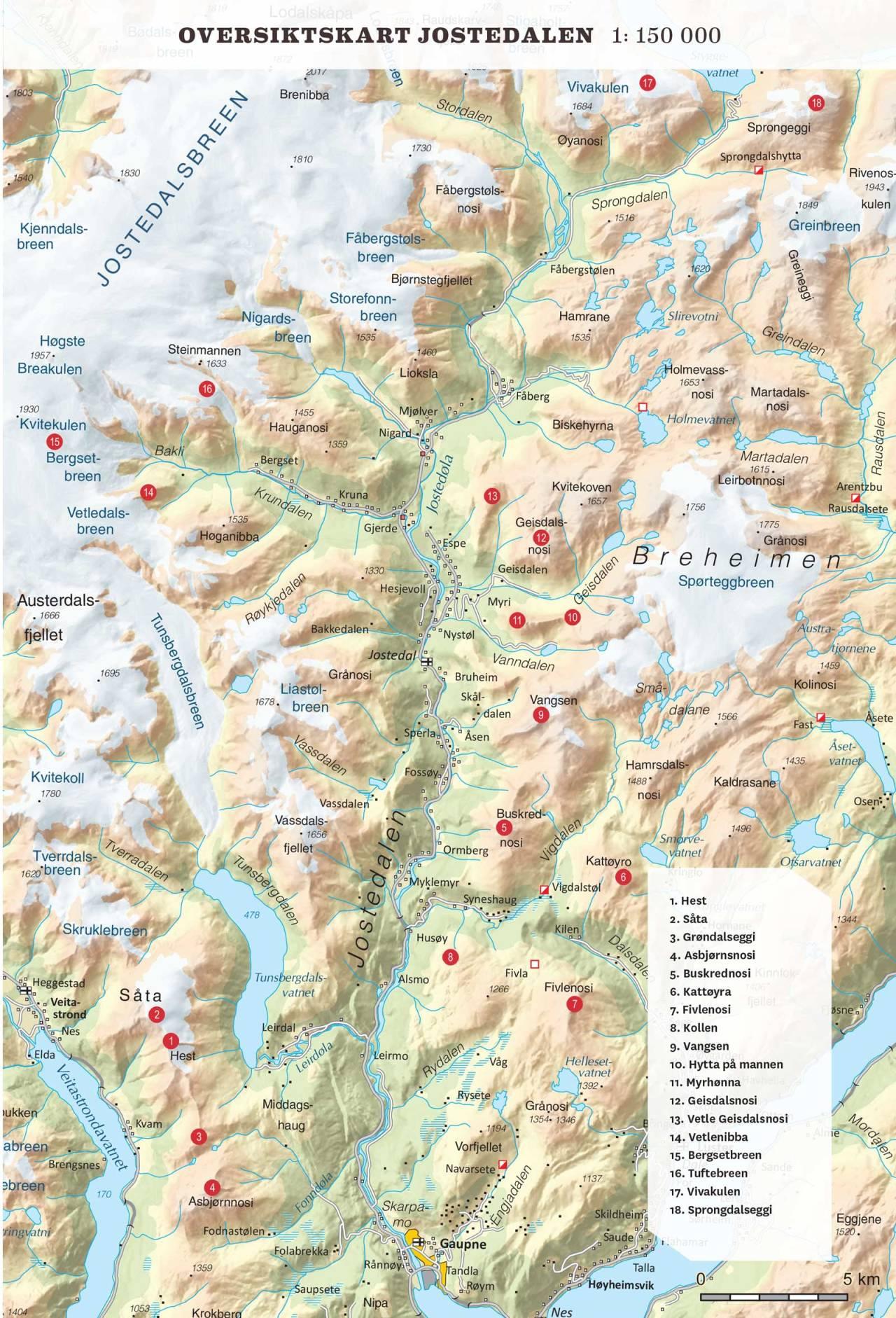 Oversiktskart over Jostedalen. Toppturar i Sogn.