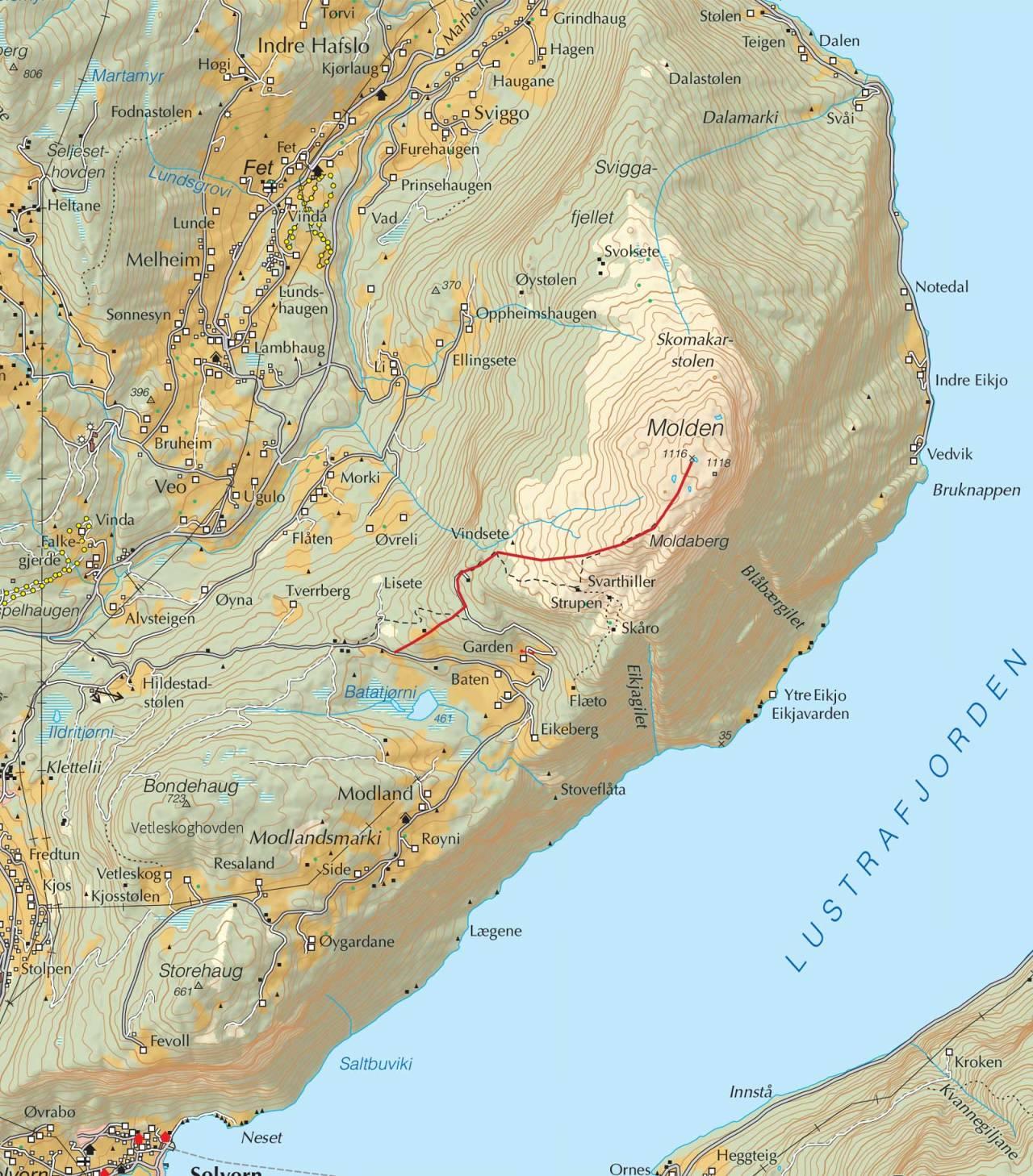 Kart over Molden med inntegnet rute. Fra Trygge toppturer.