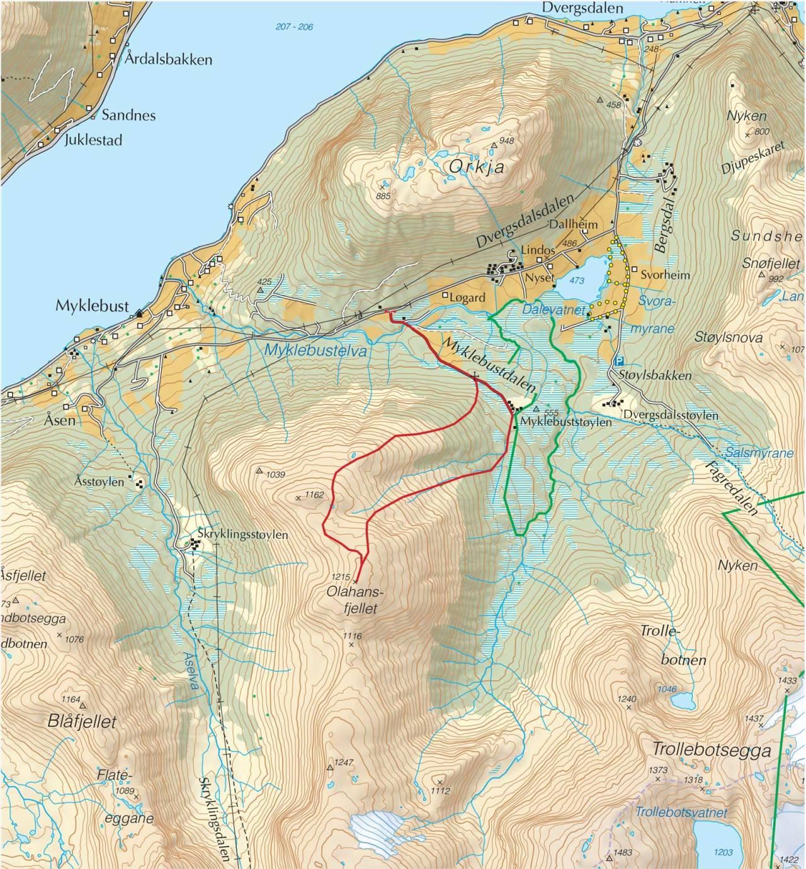 Kart over Olahansfjellet med inntegnet rute. Fra Trygge toppturer.