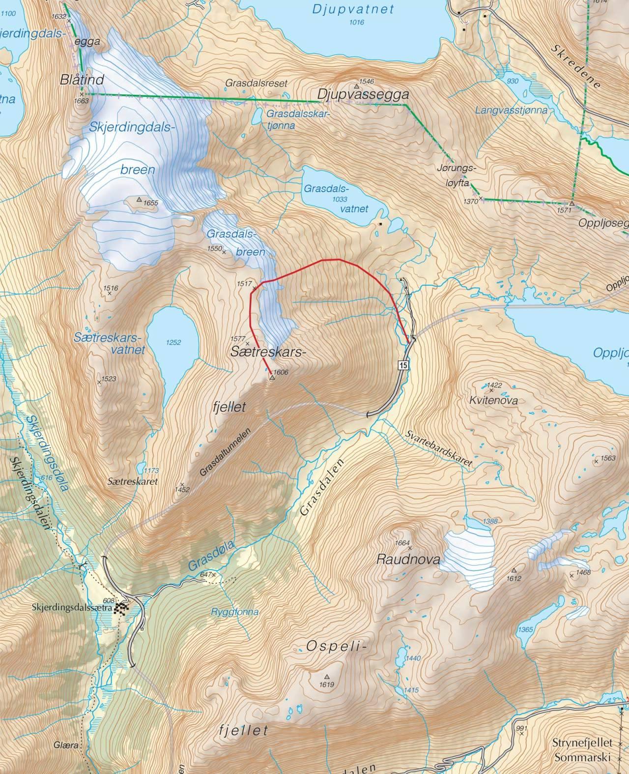 Kart over Sætreskarsfjellet med inntegnet rute. Fra Trygge toppturer.