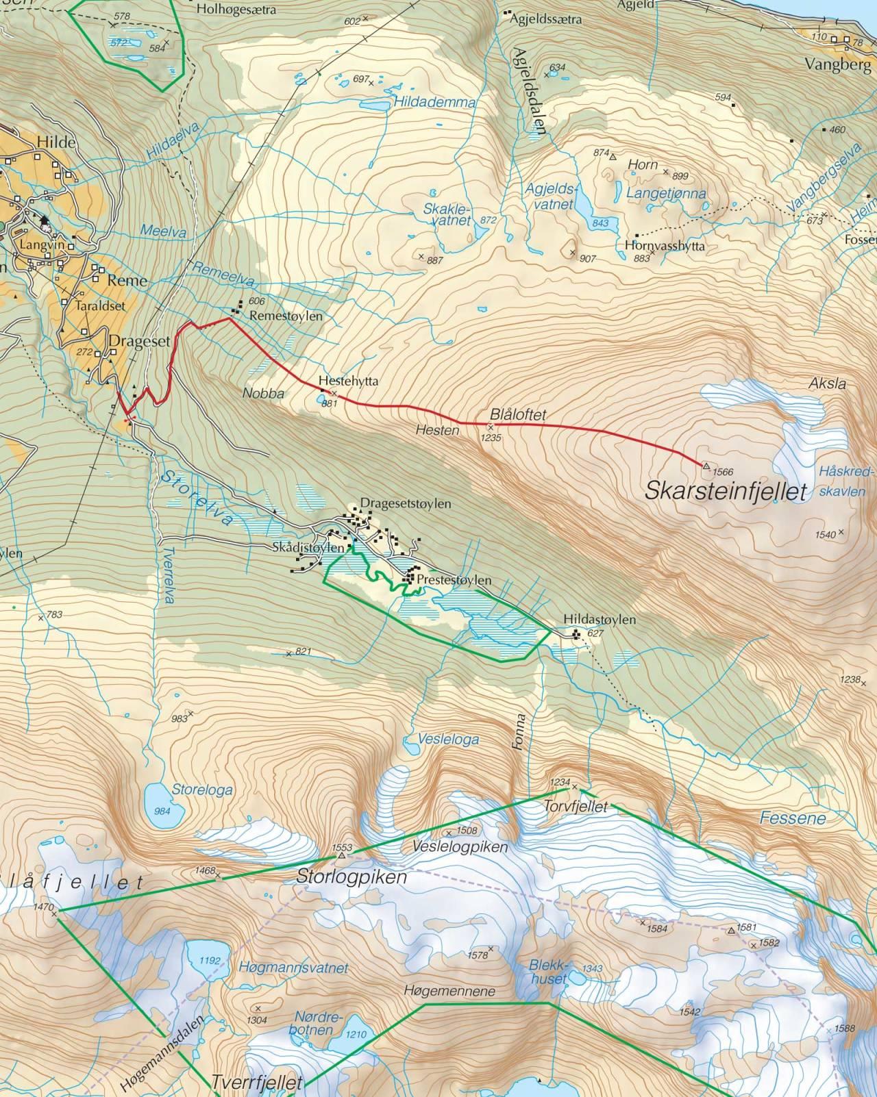 Kart over Skarsteinfjellet med inntegnet rute. Fra Trygge toppturer.