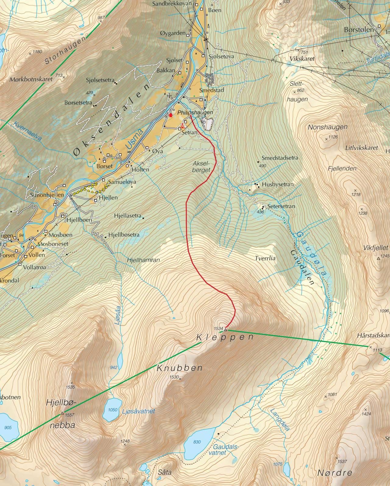 Kart over Kleppen med inntegnet rute. Fra Trygge toppturer.