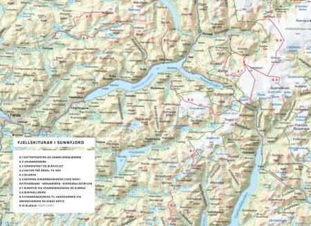 Oversiktskart over Fjellskiturar i Sunnfjord. Frå Toppturar i Sunnfjord.