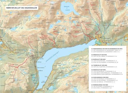 Oversiktskart over Rørvikfjellet og Haukedalen. Frå Toppturar i Sunnfjord.