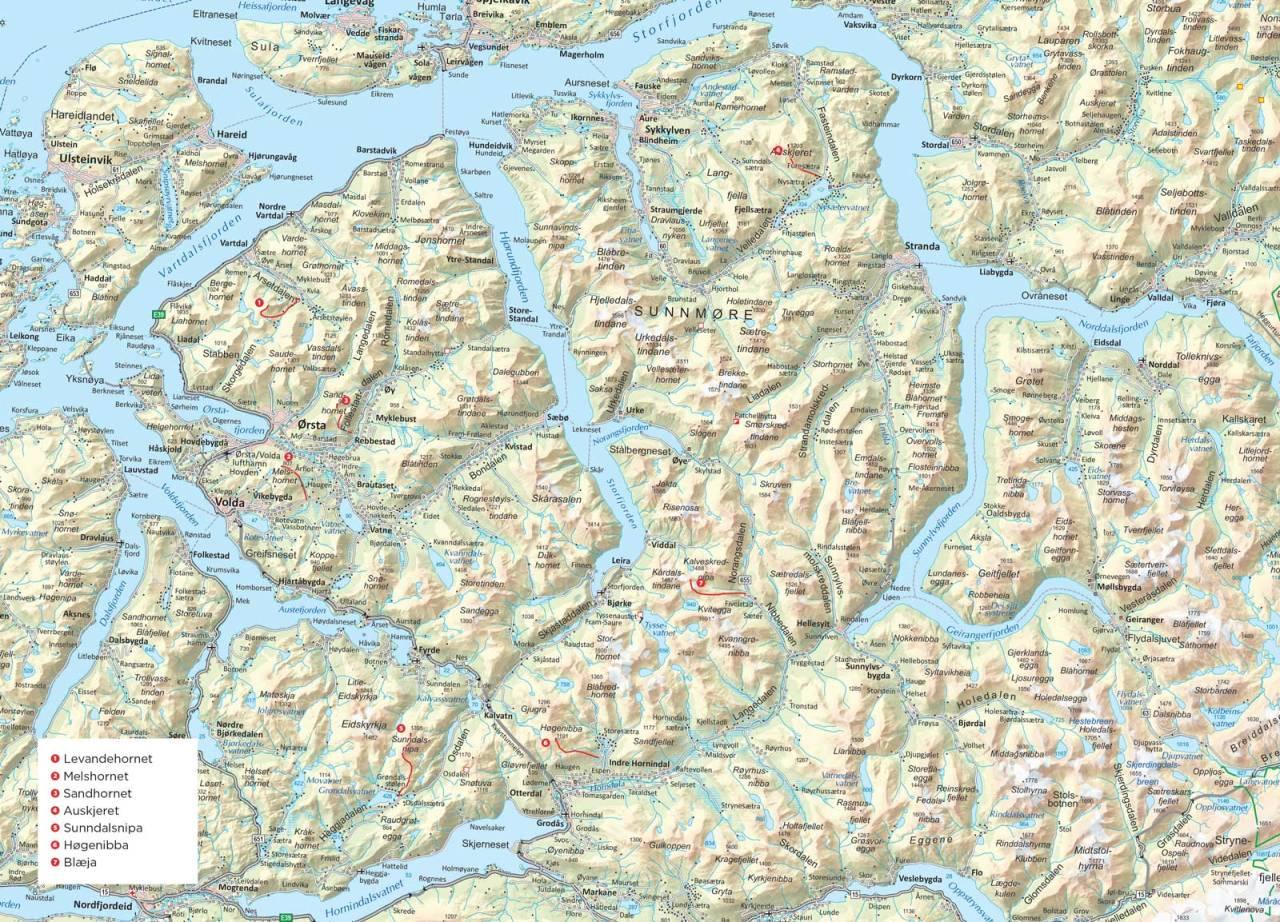 Oversiktskart over Sunnmøre. Fra Trygge toppturer