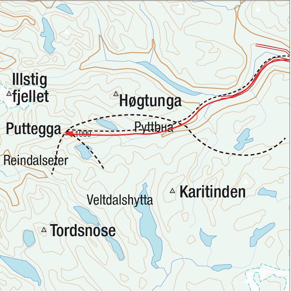 Kart for Puttegga i Tafjord
