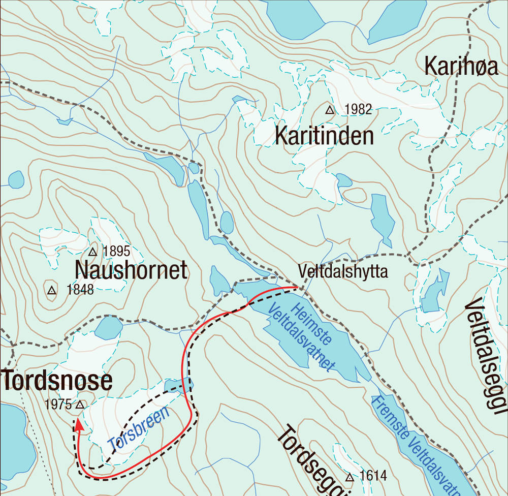 Kart for Tordnose i Tafjord