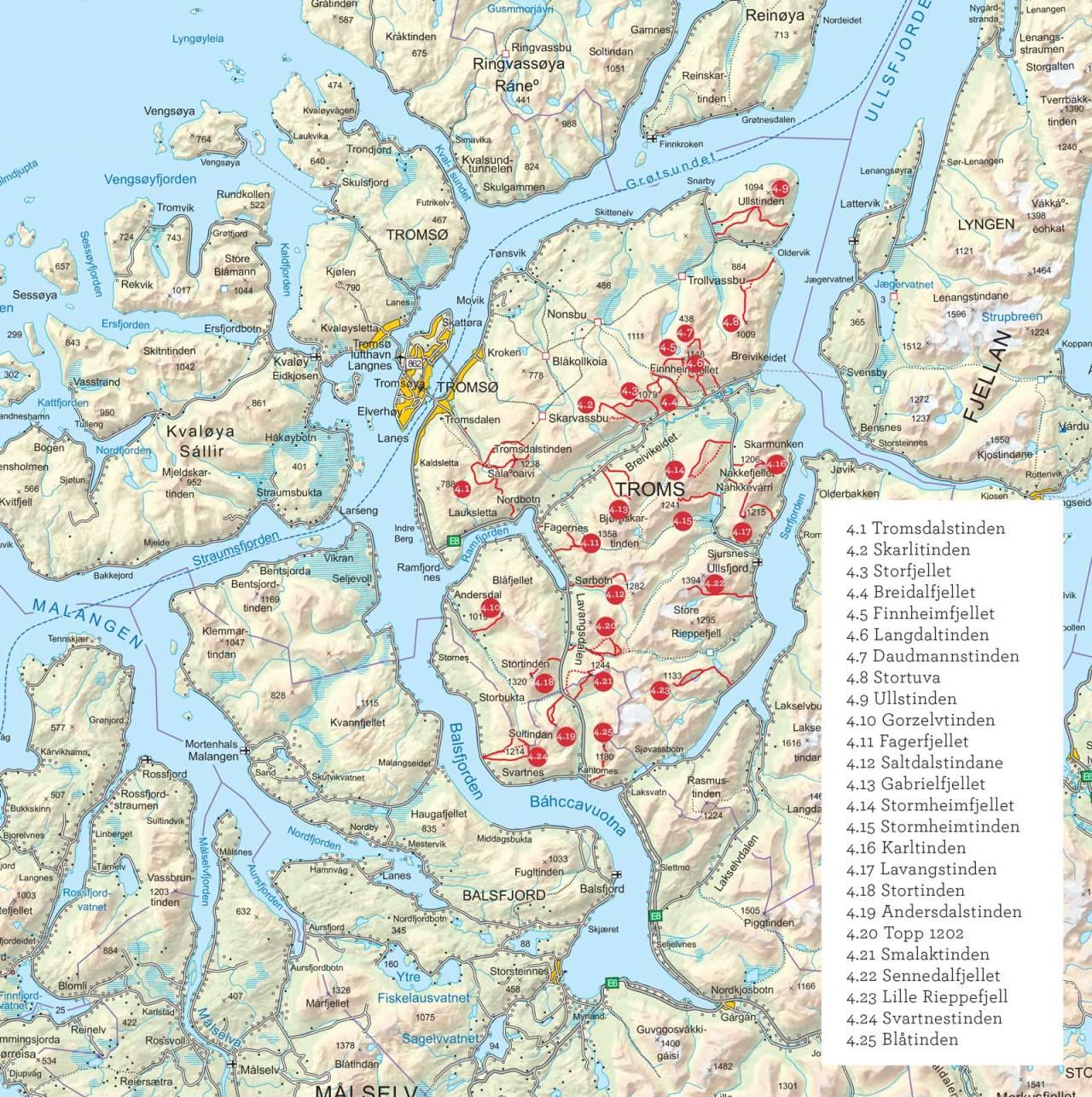 Oversiktskart over Tromsø fastland. Fra Toppturer i Troms.