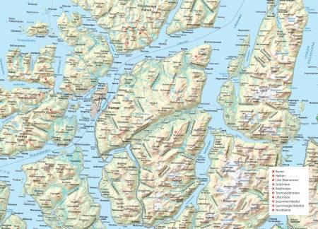 Oversiktskart over Tromsø. Fra Trygge toppturer.