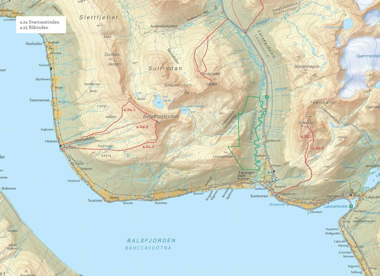 Oversiktskart over Blåtinden med inntegnet rute. Fra Toppturer i Troms.