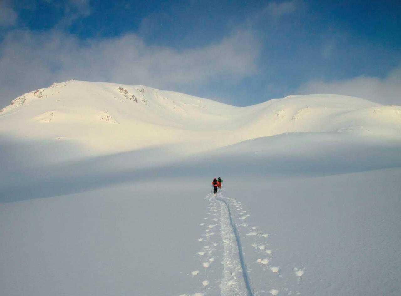 Andreas Lundbø og Madeleine Lagergren tråkker spor mot Blåtinden. For øvrig på en dag det ble retur før toppen pga for høy skredfare. Foto Kjetil M. Samuelsen. / Toppturer i Troms.