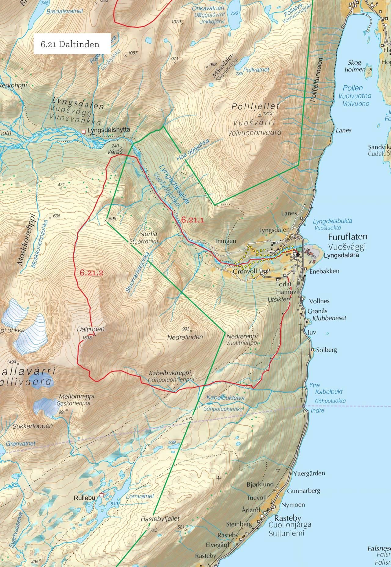 Oversiktskart over Daltinden med inntegnet rute. Fra Toppturer i Troms.
