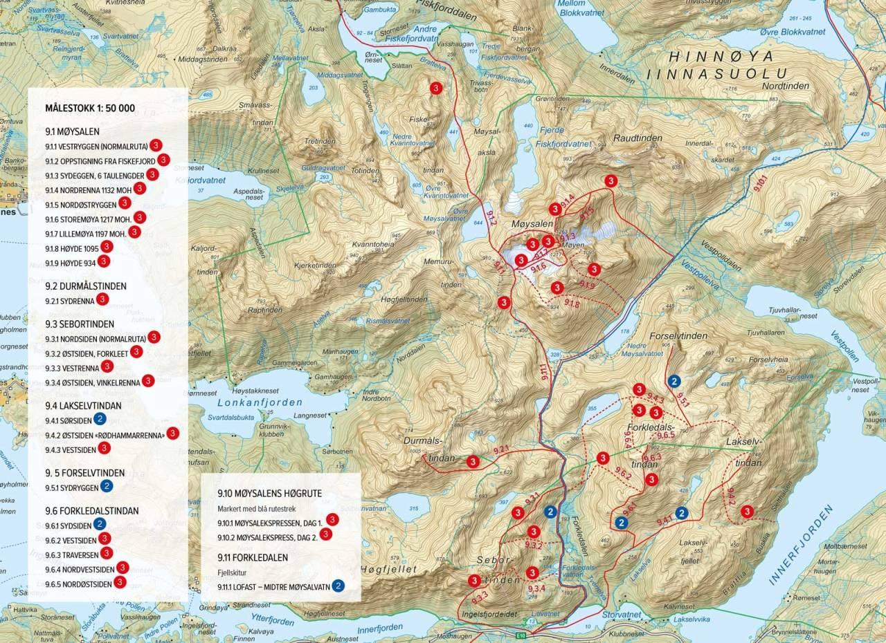 Oversiktskart med inntegnet rute. Fra Toppturer rundt Harstad