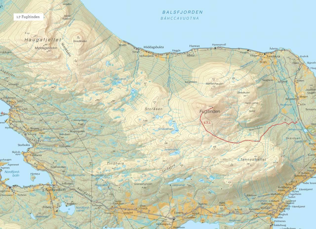 Oversiktskart over Fugltinden med inntegnet rute. Fra Toppturer i Troms.