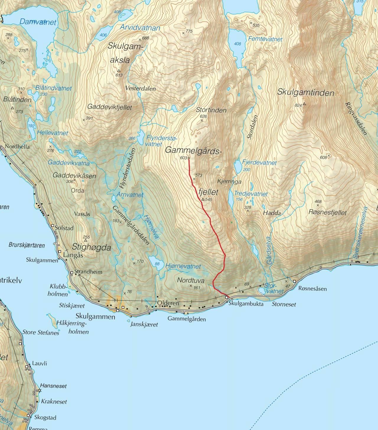 Kart over Gammelgårdsfjellet med inntegnet rute. Fra Trygge toppturer.