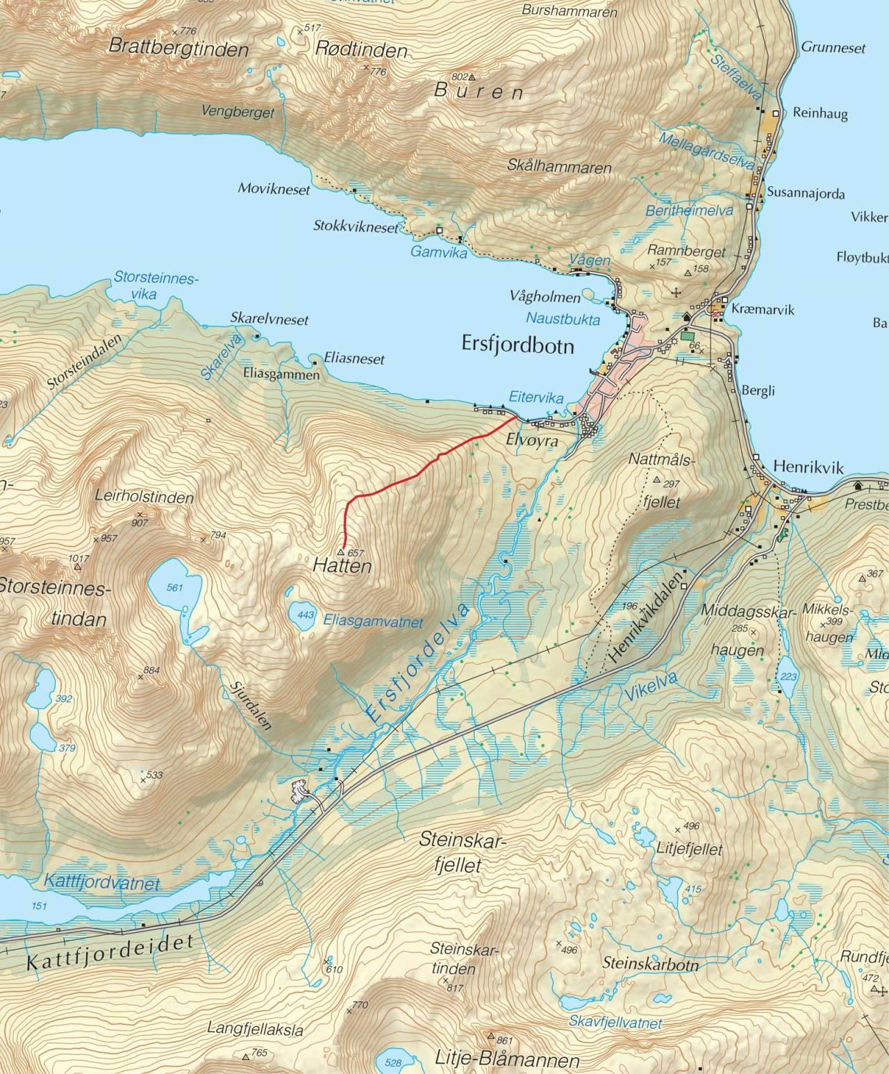 Kart over Hatten med inntegnet rute. Fra Trygge toppturer.