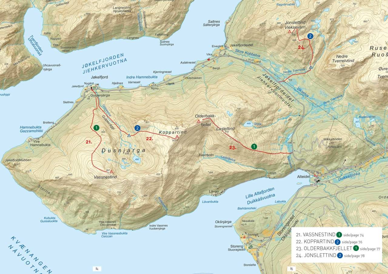 Oversiktskart med inntegnet rute