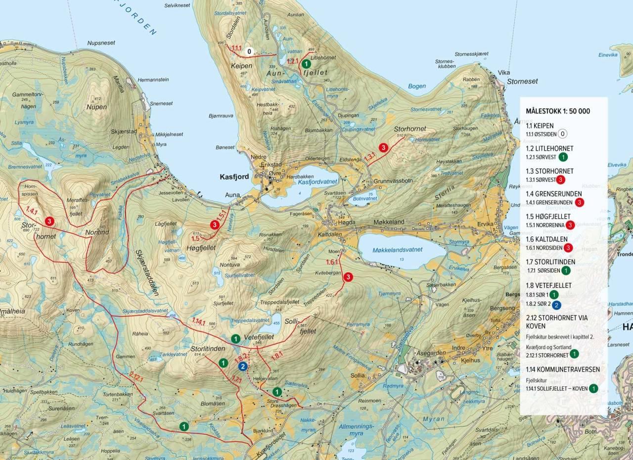 Oversiktskart med inntegenet rute. Fra Toppurer rundt Harstad