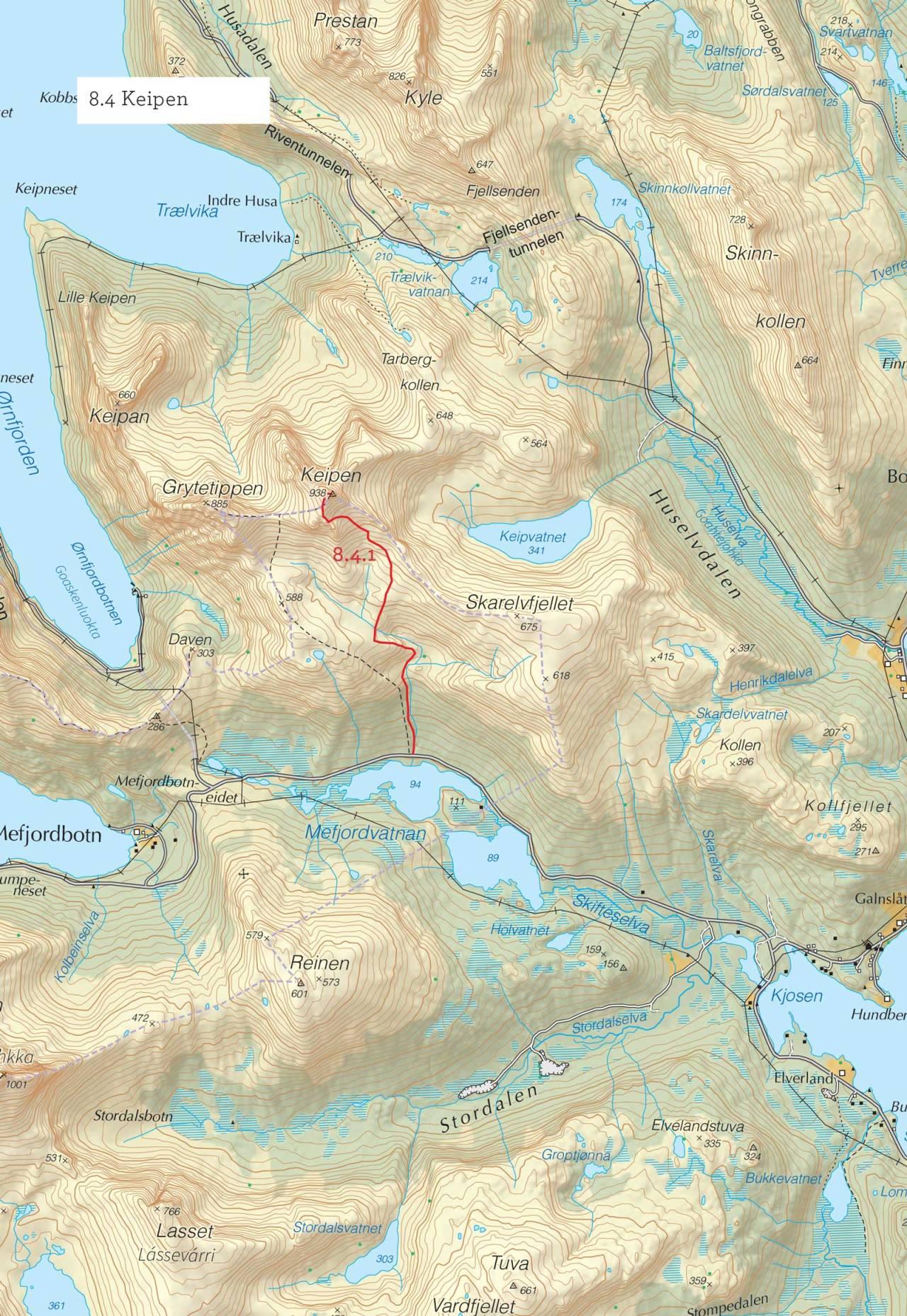 Oversiktskart over Keipen med inntegnet rute. Fra Toppturer i Troms.