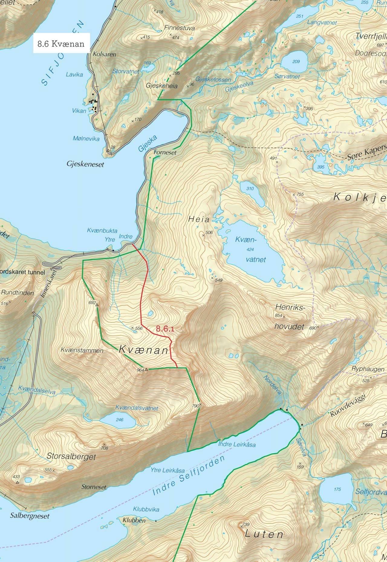 Oversiktskart over Kvænan med inntegnet rute. Fra Toppturer i Troms.