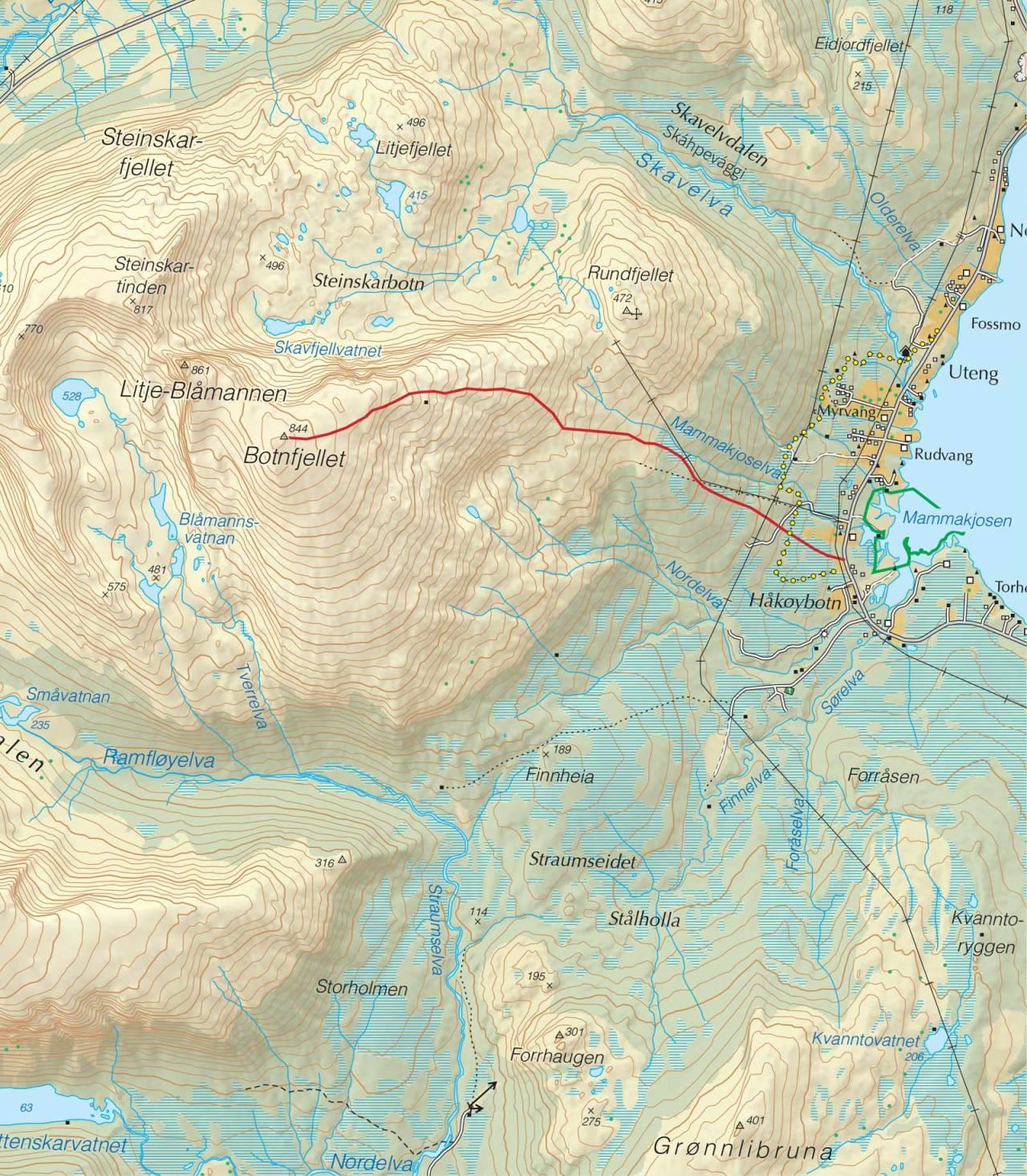 Kart over Lille Blåmannen med inntegnet rute. Fra Trygge toppturer.