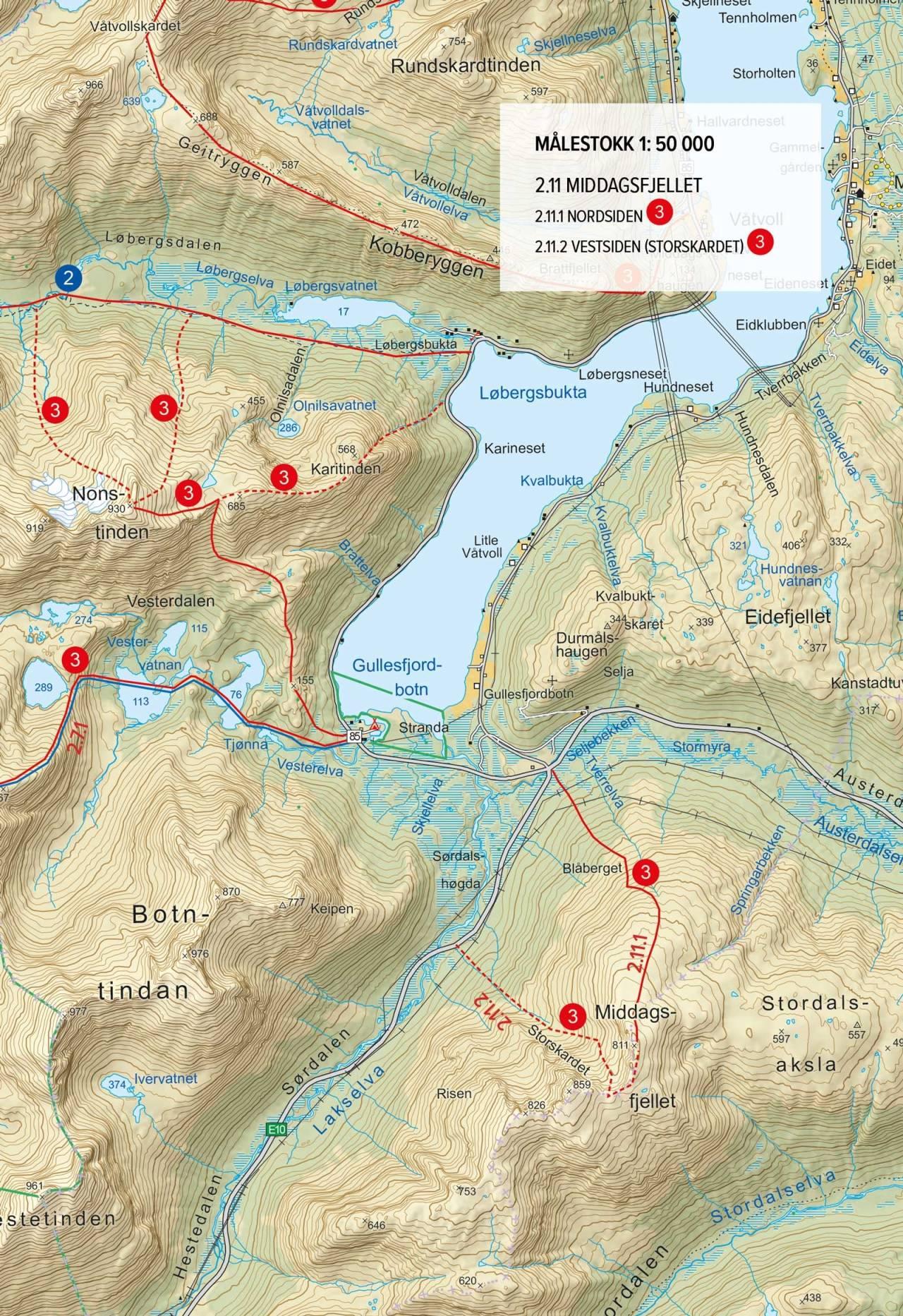 Oversiktskart med rute. Fra Toppturer rundt Harstad