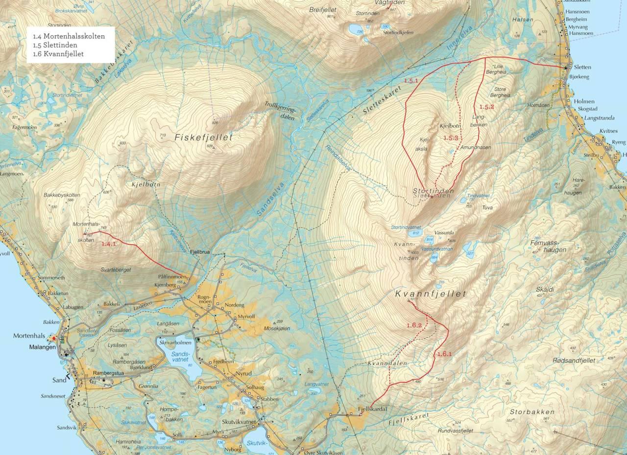 Oversiktskart over Mortenhalsskolten med inntegnet rute. Fra Toppturer i Troms.
